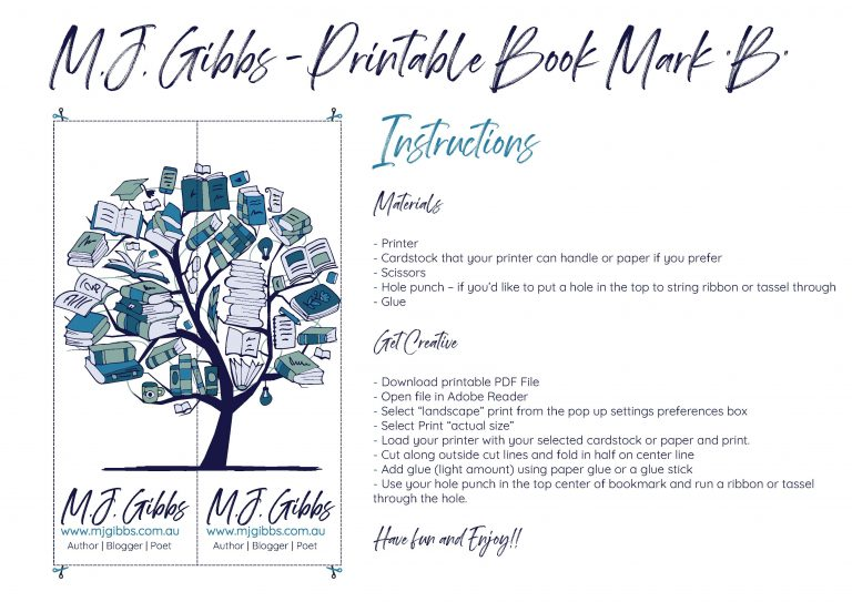 Free Printable Bookmark - Bookmark B