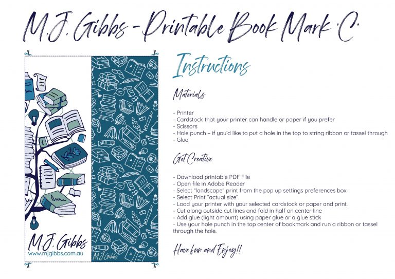 Free Printable Bookmark - Bookmark C